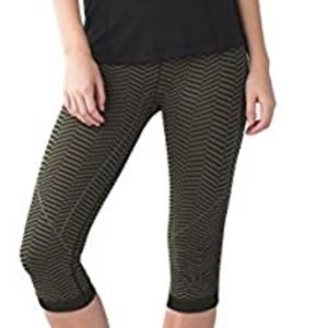 Lululemon in the flow crop heathered green tight